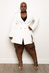 "Plus Size ""Too Saditty"" Double Blazer Suit Dress - Ivory"