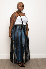"Plus Size ""Hard Core"" Vegan Leather Fringe Harness Belt - Black"