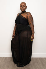 "Plus Size ""Bottoms Up"" Wide Leg Sheer Pants - Black"