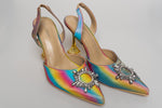"Cape Robbin ""Hate To See You Leave"" Martini Heel Sling - Rainbow"
