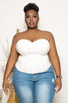 "Plus Size ""Blow the Whistle"" Corset Top - White"