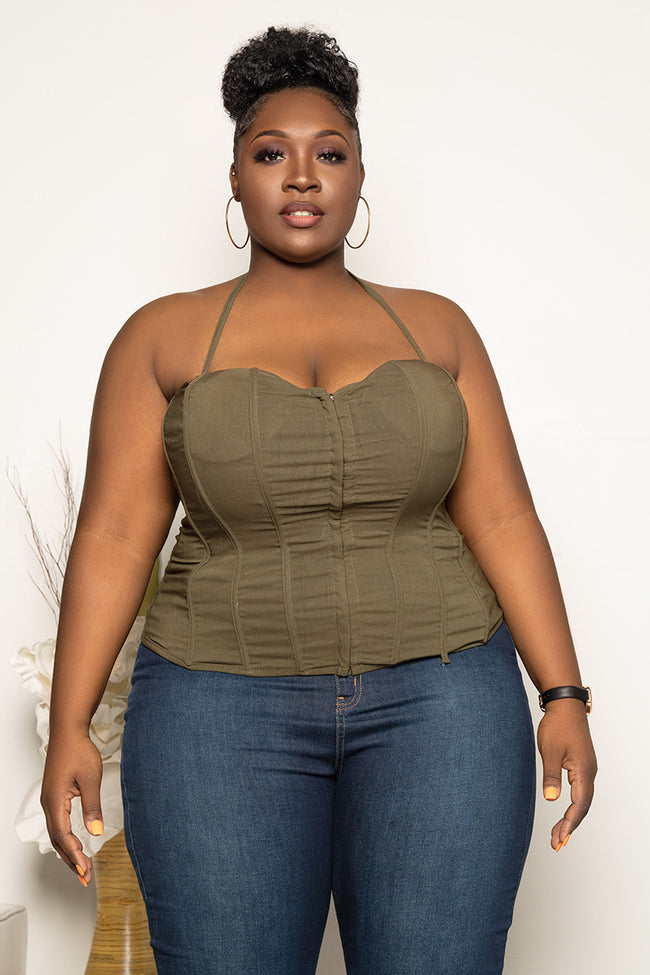 "Plus Size ""Blow the Whistle"" Corset Top - Olive"