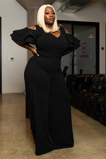 "Plus Size ""Belle Aire"" Wide Leg Cut Out Jumpsuit - Black"