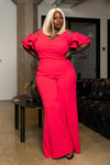 "Plus Size ""Belle Aire"" Wide Leg Cut Out Jumpsuit - Coral Melon"