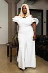 "Plus Size ""Belle Aire"" Wide Leg Cut Out Jumpsuit - Ivory"