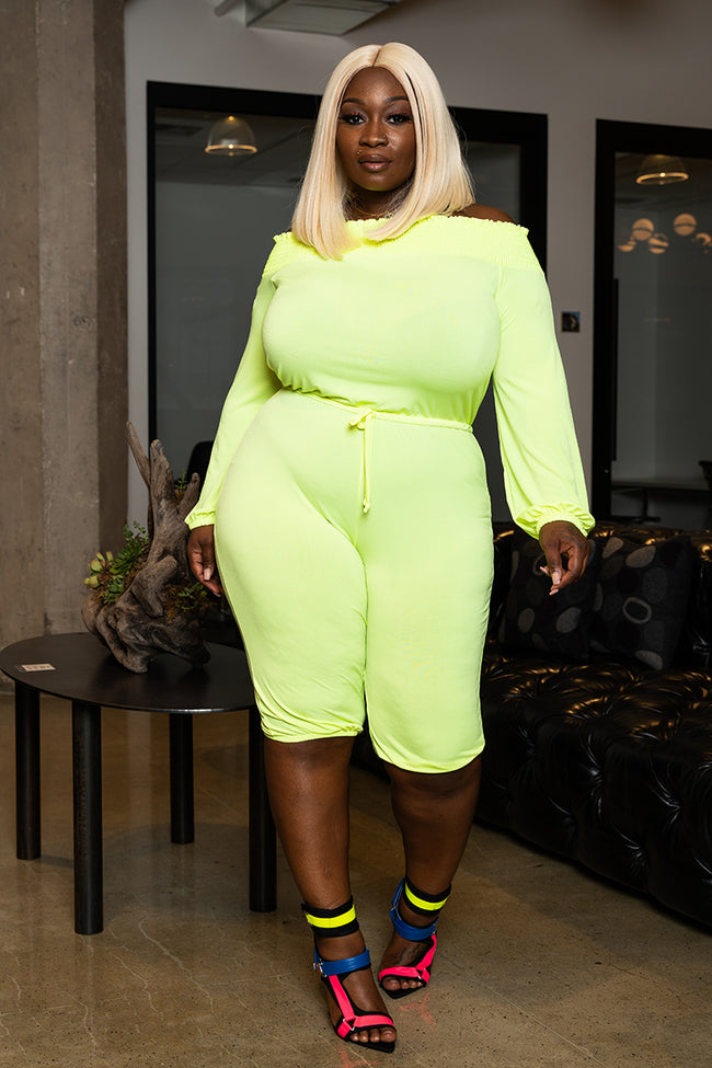 "Plus Size ""Circulate""  Off Shoulder Knee Length Jumpsuit - Neon Lime"