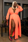 "Pus Size ""Bright As The Sun"" Double Split Maxi Dress - Neon Coral"