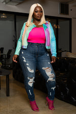 "Plus SIze ""Candie Coated"" Ombre Moto Jacket - Multi Teal"