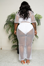 "Plus Size ""Catch Me Outside"" Fishnet Pant Set Cover Up - White"