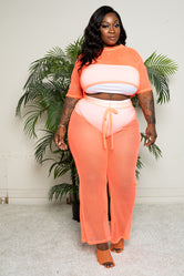 "Plus Size ""Catch Me Outside"" Fishnet Pant Set Cover Up - Coral"