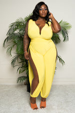 "Plus Size ""Sasha"" Genie Split Pant Jumpsuit - Yellow"