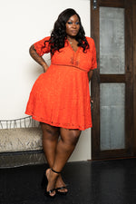 "Plus Size ""What a Dream""  Lace Babydoll Dress - Coral"
