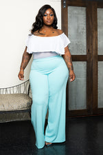 "Plus Size ""Harlo"" Wide Leg Pant - Mint Green"