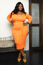 "Plus Size ""There She Goes"" Midi Dress - Orange"