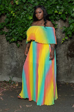 "Plus Size ""Rainbow Rules"" Off Shoulder Maxi Dress - Multi Yellow"