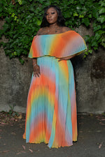 "Plus Size ""Rainbow Rules"" Off Shoulder Maxi Dress - Multi Blue"