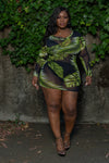 "Plus Size ""Make a Wish"" Sheer Cover Up - Black Green Palm Leaf"