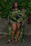 "Plus Size ""Wish Come True"" Sheer Cover Up Cardigan - Black Green Palm Leaf"
