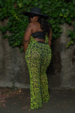 "Plus Size ""Cheat a Baby"" Mesh Leopard Halter Jumpsuit - Green"