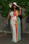 "Plus Size ""Beautiful Mornin"" Oversized Maxi Dress w/Scarf/Belt - Multi Green Orange"