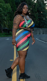 "Plus Size ""You've Been Warned"" Biker Set - Multi Red"