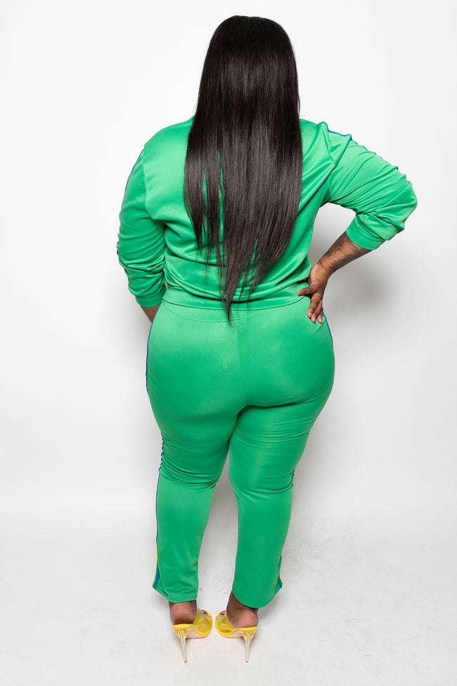 "Plus Size ""I Luv Love"" Rainbow Strip 2 Piece Track Suit - Green - Boutique115"
