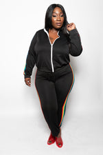 "Plus Size ""I Luv Love"" Rainbow Strip 2 Piece Track Suit - Black - Boutique115"
