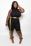 "Plus Size ""Close Enough"" Mock Neck Knee Length Jumper - Black"