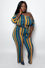 "Plus Size ""Clear the Runway"" Boat Neck Off Shoulder Belted Jumpsuit - Blue Mustard"