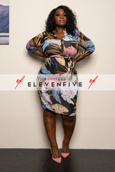 "Plus Size ""Palm Calm"" Print Midi Dress - Blue Mauve"