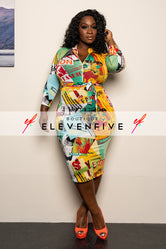 "Plus Size ""Fashion Got Me Weak"" Print Midi Dress - Orange Green"