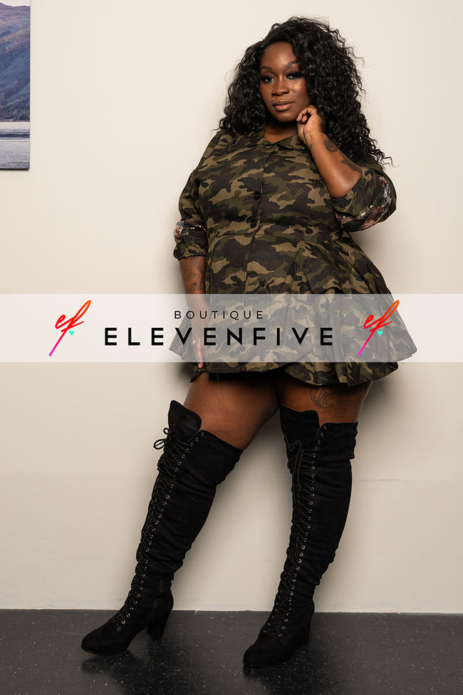"Plus Size ""Attention"" Camouflage Peplum Top - Army Green"