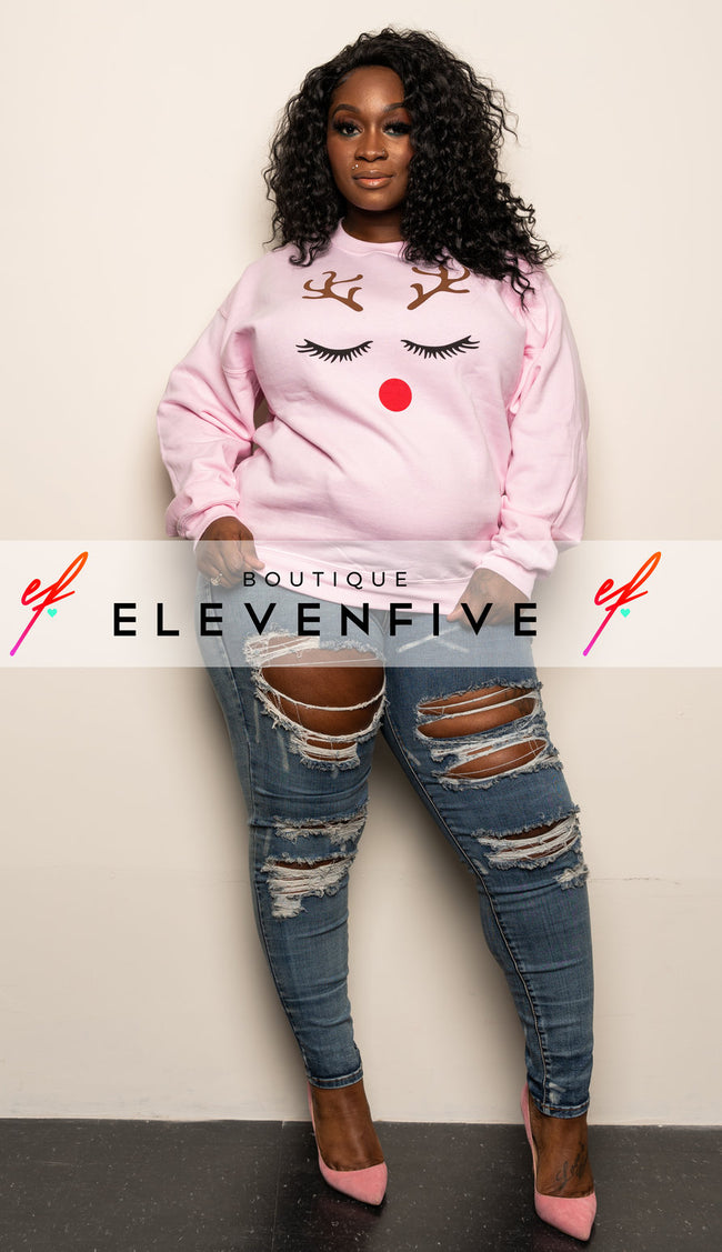 "Plus Size ""Ms Red Nose"" Sweatshirt - Pink"