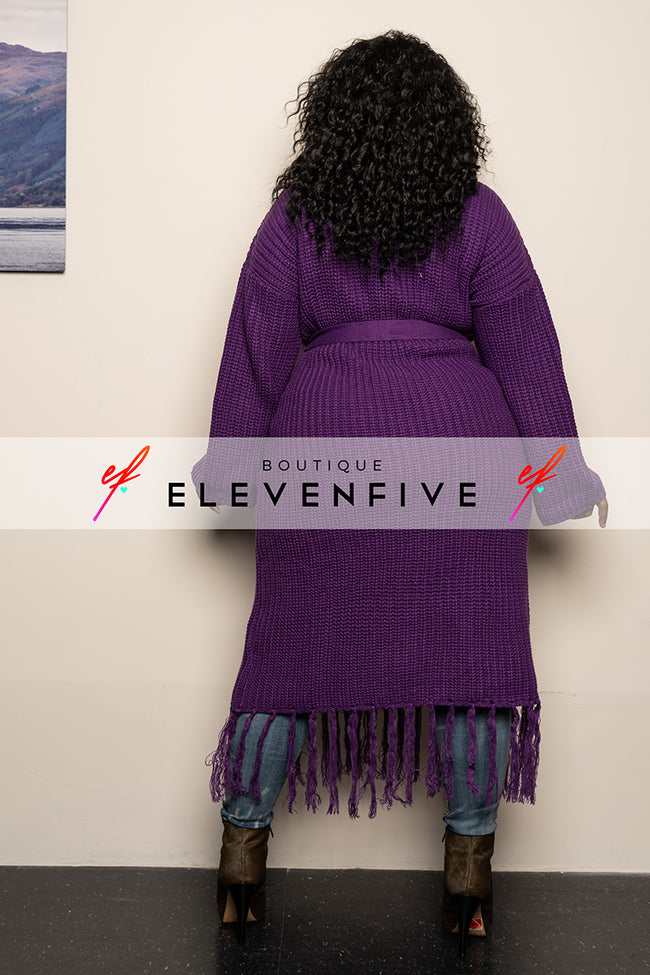 "Plus Size ""I Love You a Latte"" Fringe Sweater - Purple"