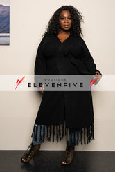 "Plus Size ""I Love You a Latte"" Fringe Sweater - Black"