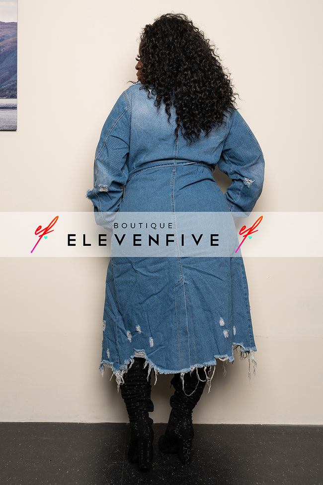 "Plus Size ""Round up the Posse"" Denim Trench Coat - Medium Blue Jean"
