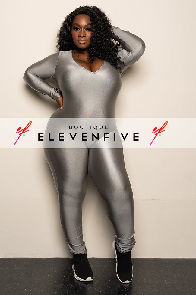 "Plus Size ""Simply Incredible"" Slinky Jumpsuit - Silver"