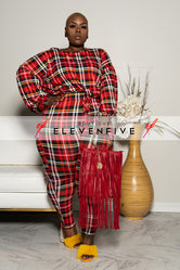 "Plus Size ""You've Been Plaid"" Pant Set - Red"