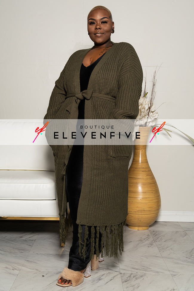 "Plus Size ""I Love You a Latte"" Fringe Sweater - Olive"