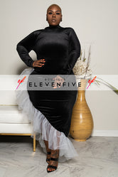 "Plus Size ""Moulin Rouge"" Velvet Ruffle Dress - Black"