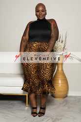 "Plus Size ""Beautiful Agu"" Leopard Print Dress - Black"