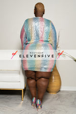 "Plus Size ""Unicorns are Real"" Glitter Dress - Multi Pink"