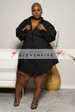 "Plus Size ""True to Myself"" Button Down Poplin Shirt Dress - Black"