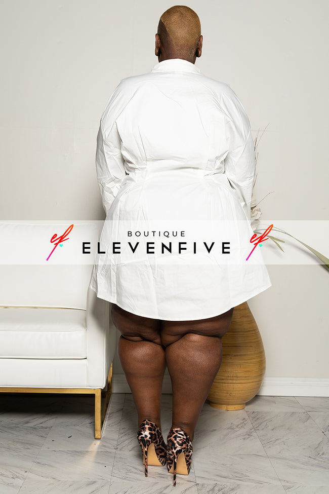 "Plus Size ""True to Myself"" Button Down Poplin Shirt Dress - White"