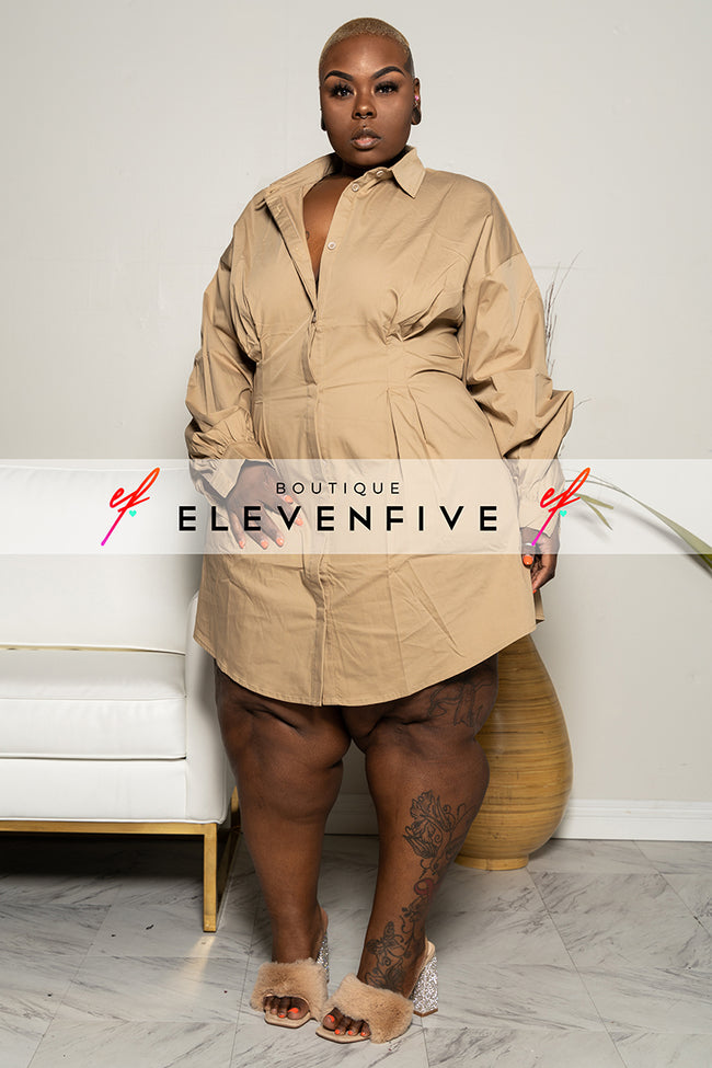 "Plus Size ""True to Myself"" Button Down Poplin Shirt Dress - Tan Khaki"