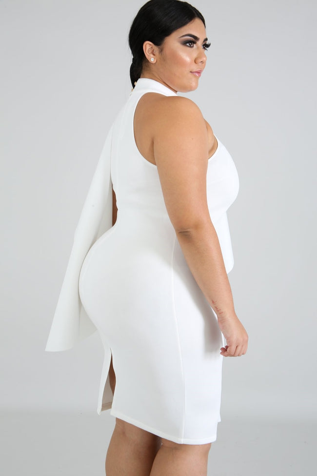 "Plus SIze ""Forever My Lady""  Ruffle Dress - White"