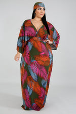 "Plus Size ""Palm Springs"" Oversized Kaftan Dress w/Scarf - Multi Olive"