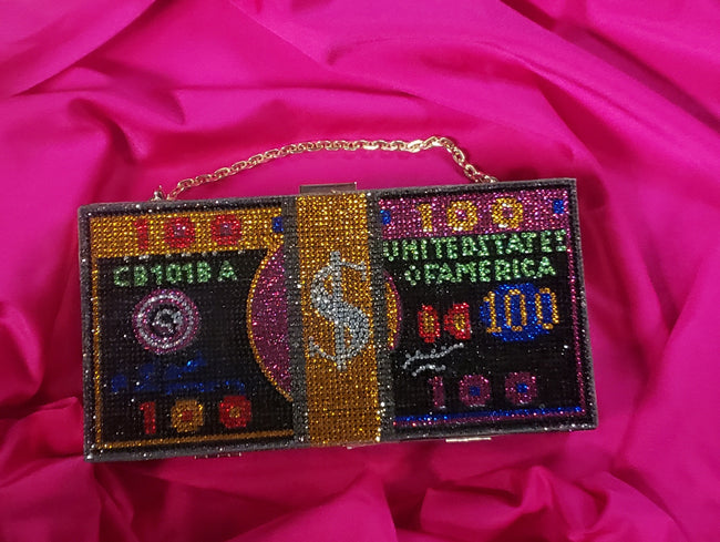 "Iced Out ""Money Bag"" Clutch - Multi"