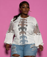 "Plus Size ""Candlelight"" Fishnet Cutout Blouse - White"
