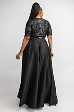 "Plus Size ""Glory n Grace"" Sequin A Line Gown - Black"